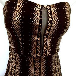 Black & Gold strapless mini dress. Windsor